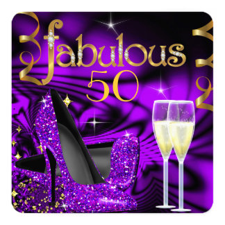 Fabulous 50 Party Abstract Purple High Heels Gold Card