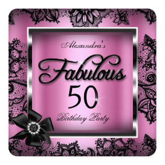 Fabulous 50 Party Pink Damask Black Lace Pearl Card