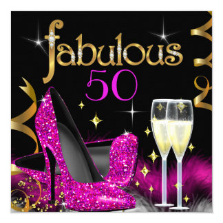 Fabulous 50 Party Pink High Heels Gold Black Card
