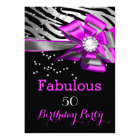 Fabulous 50 Party Pink Zebra Black Silver Pearl Card