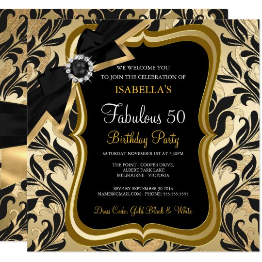 Fabulous 50 Pearl Gold Bow Black Damask Invite
