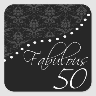 Fabulous 50 Personalized Black Birthday Party Square Sticker