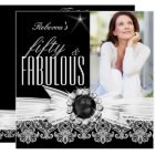 Fabulous 50 Photo Black Pearl White Lace Birthday Card
