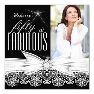 "Fabulous 50 Photo Black White Lace 50th Birthday 5.25"" Square Invitation Card"