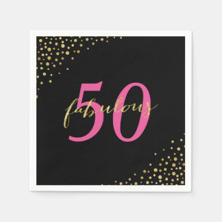 Fabulous 50 Pink & Gold Modern Birthday Disposable Napkin