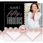Fabulous 50 Pink Pearl Photo Elegant Birthday Card