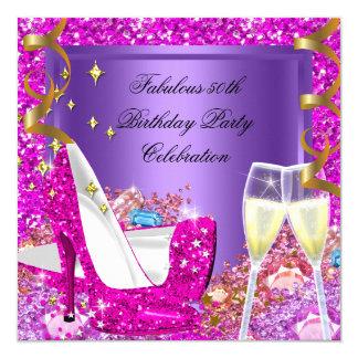 "Fabulous 50 Pink Purple Glitter Heels Birthday 5.25"" Square Invitation Card"