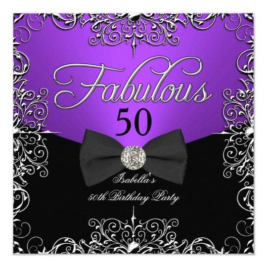 Fabulous 50 Purple Elegant Birthday Party Card