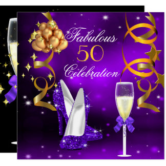 Fabulous 50 Purple Gold Heels Champagne Party Card