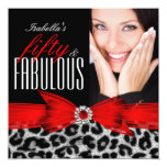"Fabulous 50 Red Black Leopard Photo Birthday Party 5.25"" Square Invitation Card"