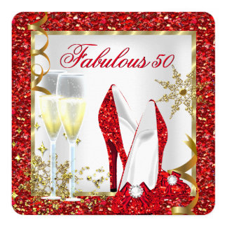Fabulous 50 Red Glitter Gold Birthday Party Card