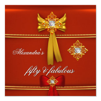 """Fabulous 50 Regal Red Gold Birthday Party 5.25"""" Square Invitation Card"""
