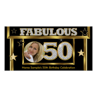 Fabulous 50 Retro Glamour Hollywood Gold Photo Poster
