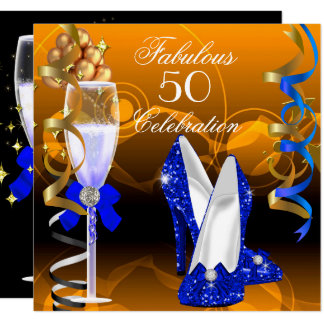 Fabulous 50 Royal Blue Gold Orange Birthday Party Card