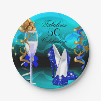 Fabulous 50 Royal Blue Teal Gold Birthday Party 7 Inch Paper Plate