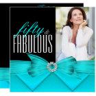 Fabulous 50 Teal Black Photo Elegant Birthday Card