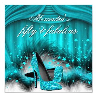 """Fabulous 50 Teal Blue High Heels Feathers Birthday 5.25"""" Square Invitation Card"""