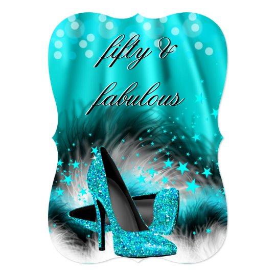 Fabulous 50 Teal Blue Stars High Heels Birthday Card