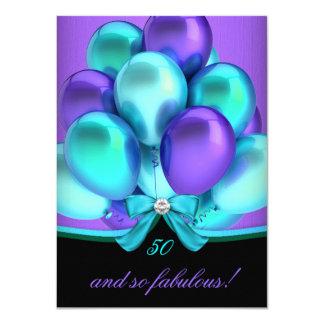 "Fabulous 50 Teal Purple Black Birthday Party 2 4.5"" X 6.25"" Invitation Card"