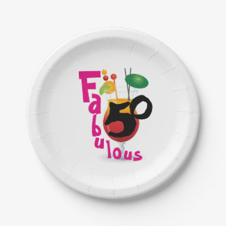 Fabulous 50 Tropical Birthday Party 7 Inch Paper Plate