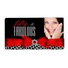 Fabulous 50 Wild Red Black Photo bottle labels