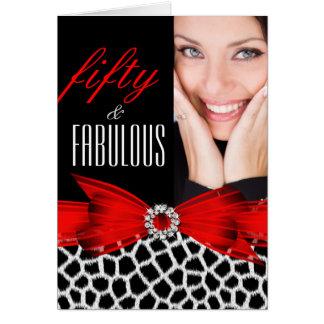 Fabulous 50 Wild Red Black Photo Happy Birthday Note Card