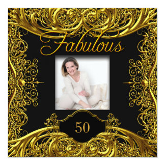 Fabulous 50th Birthday Party Gold Black Card