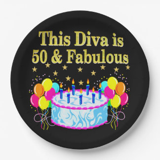 FABULOUS 50TH PARTY CELEBRATION DESIGN 9 INCH PAPER PLATE