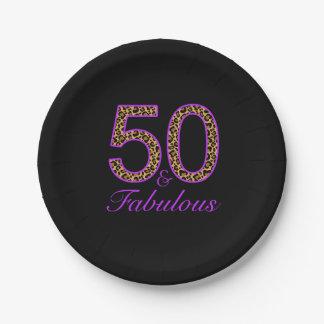 Fabulous 50th Purple Black Leopard Birthday Paper Plate