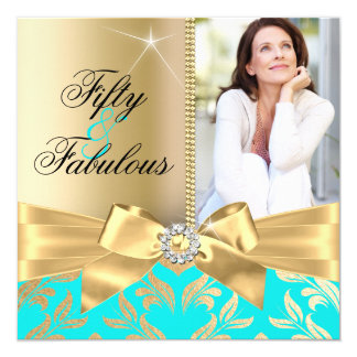 "Fabulous 50th Teal Gold Leaf & Bow 50th Birthday 5.25"" Square Invitation Card"
