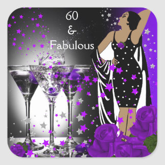 Fabulous 60 60th Birthday Purple Roses Martini Square Sticker