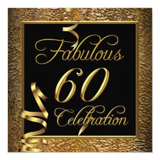 "Fabulous 60 Celebration Gold Black Birthday Party 5.25"" Square Invitation Card"