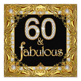 "Fabulous 60 Gold Diamond Black 60th Birthday Party 5.25"" Square Invitation Card"