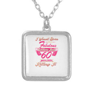 Fabulous 60th year birthday party gift tee silver plated necklace