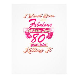Fabulous 80th year birthday party gift tee letterhead
