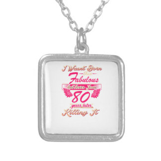 Fabulous 80th year birthday party gift tee silver plated necklace