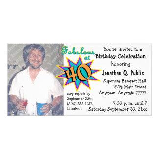 Fabulous At 40 Birthday Party Photo Invitation Custom Photo Card