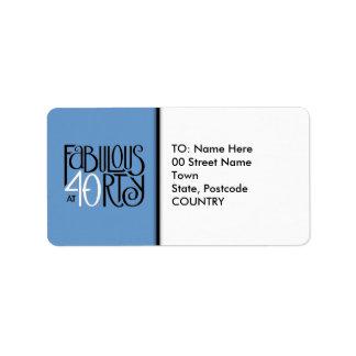 Fabulous at 40 black white blue Address Label