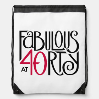 Fabulous at 40rty black red Drawstring Backpack