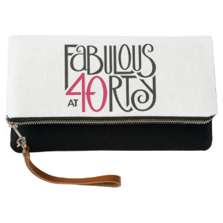 Fabulous at 40rty black red Fold-Over Clutch