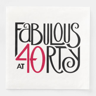 Fabulous at 40rty black red Paper Napkins