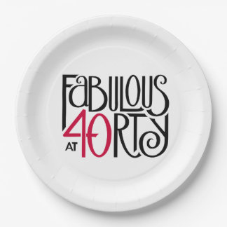 Fabulous at 40rty black red Paper Plates