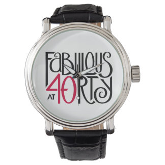 Fabulous at 40rty black red Vintage Leather Watch