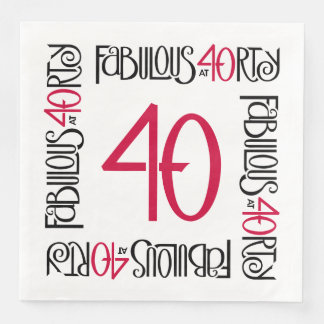 Fabulous at 40rty long black red Paper Napkins