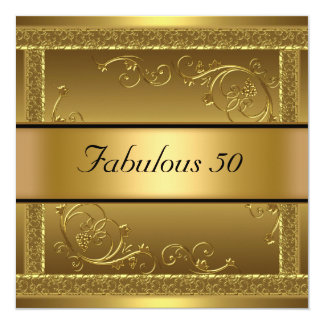 Fabulous at 50 Birthday Party Gold Invitation