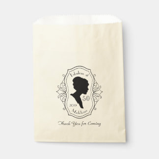 Fabulous at Fifty Cameo Lady Silhouette Dusty Pink Favour Bag