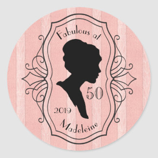 Fabulous at Fifty Cameo Lady Silhouette Dusty Pink Round Sticker