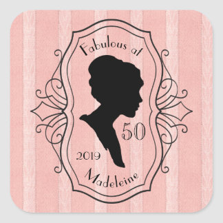 Fabulous at Fifty Cameo Lady Silhouette Dusty Pink Square Sticker