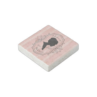 Fabulous at Fifty Cameo Lady Silhouette Dusty Pink Stone Magnets