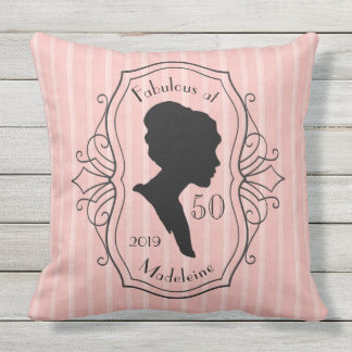 Fabulous at Fifty Cameo Lady Silhouette Dusty Pink Throw Pillow